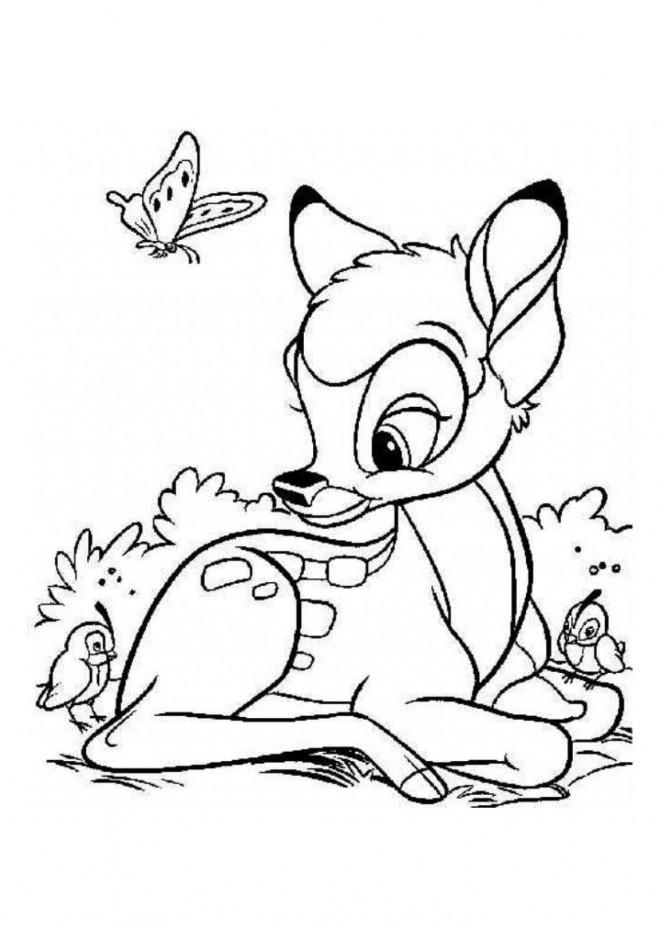 Coloriage et dessins gratuits Bambi entouré des oiseaux à imprimer
