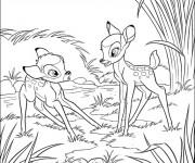 Coloriage Bambi est surpris de Féline