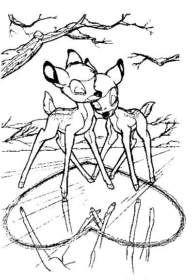 Coloriage et dessins gratuits Bambi et Féline à imprimer