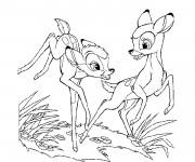 Coloriage Bambi et Féline courent