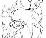 Coloriage Bambi et le grand prince marchent ensemble