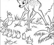 Coloriage Bambi et Madame Caille