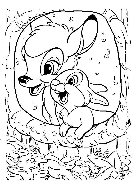 Coloriage Bambi Et Panpan Decouvrent Un Trou D Arbre