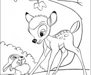 Coloriage Bambi et Panpan devant un arbre