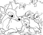 Coloriage et dessins gratuit Bambi et sa mère à imprimer