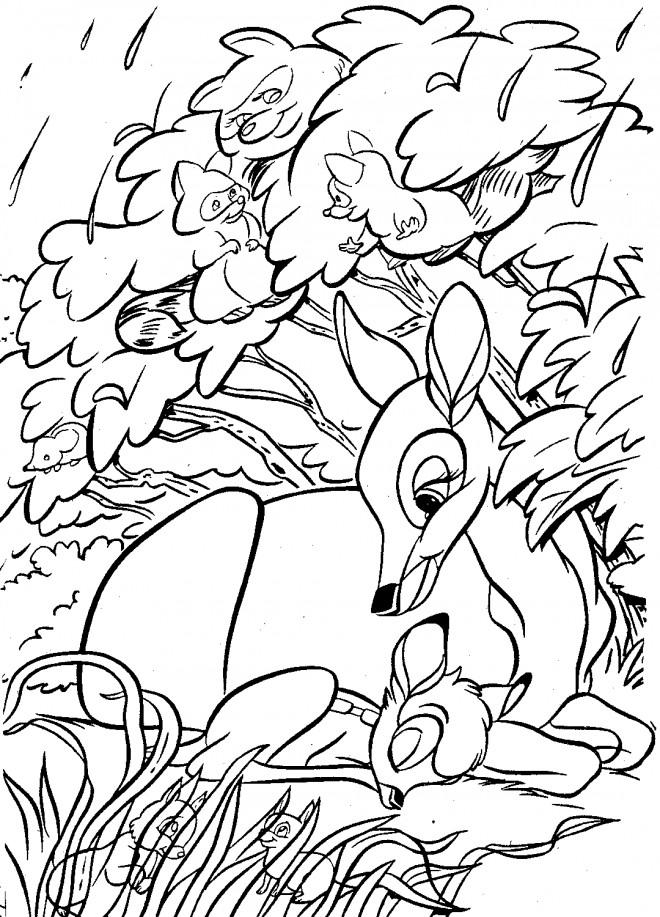 Coloriage et dessins gratuits Bambi et sam mère entourés des animaux à imprimer