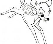 Coloriage Bambi fait un saut