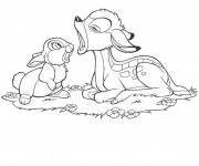 Coloriage Bambi ouvre sa bouche
