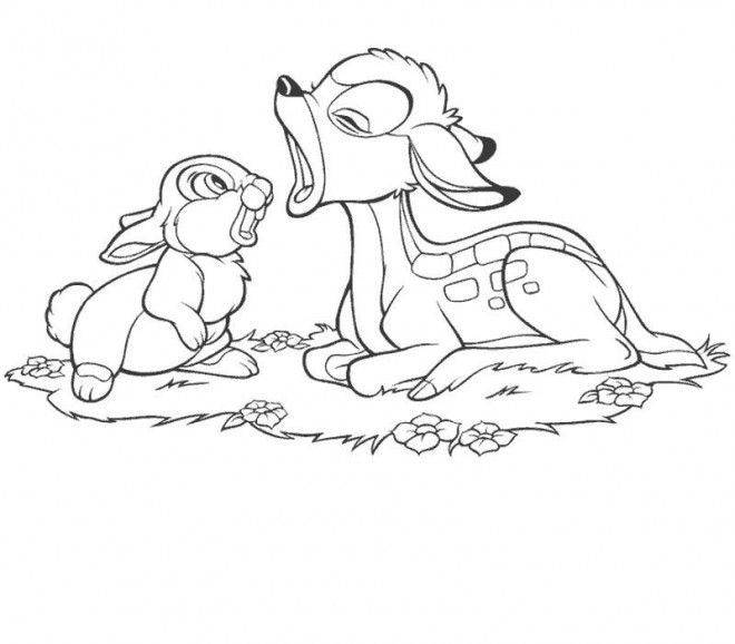 Coloriage et dessins gratuits Bambi ouvre sa bouche à imprimer