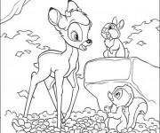 Coloriage Bambi parle avec Fleur et Panpan