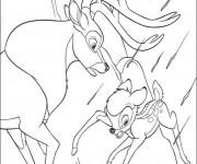 Coloriage Bambi risque de tomber