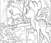 Coloriage La mère de Bambi appelle Bambi