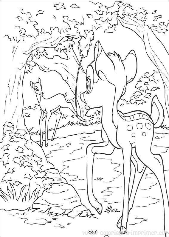 Coloriage et dessins gratuits La mère de Bambi appelle Bambi à imprimer