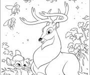 Coloriage Le grand prince de la forêt et Bambi