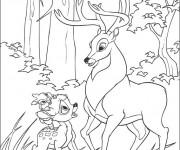 Coloriage Le grand prince de la forêt et Bambi se discutent