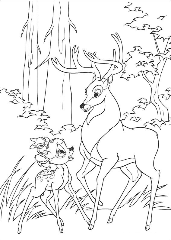 Coloriage et dessins gratuits Le grand prince de la forêt et Bambi se discutent à imprimer