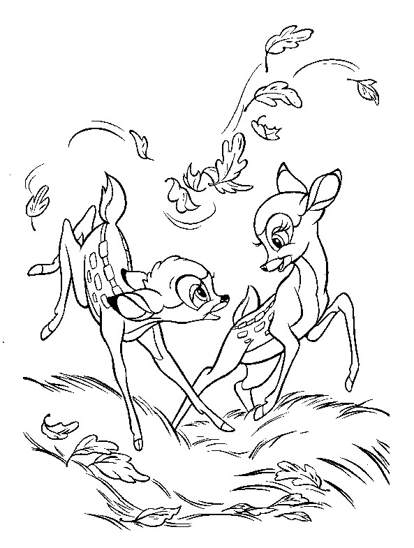 Coloriage et dessins gratuits Les faons jouent ensemble: Bambi à imprimer