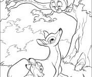 Coloriage Monsieur Hibou, Bambi et sa mère
