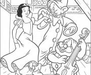Coloriage Blanche danse avec les nains