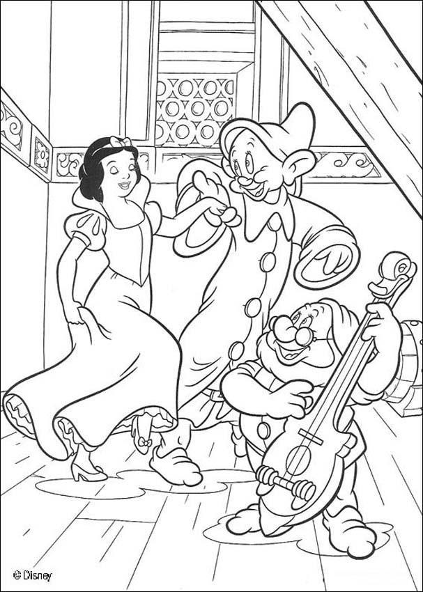 Coloriage et dessins gratuits Blanche danse avec les nains à imprimer
