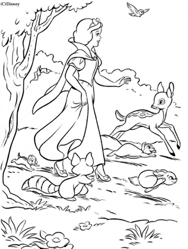 Coloriage et dessins gratuits Blanche entourée des animaux à imprimer
