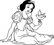 Coloriage Blanche Neige chante