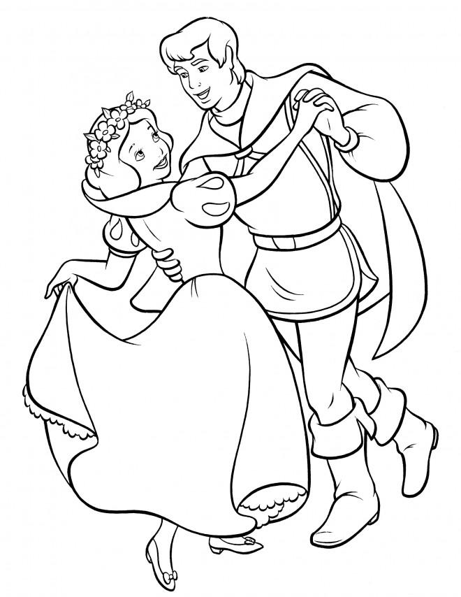 Coloriage blanche neige danse avec son prince dessin - Coloriage blanche neige a imprimer gratuit ...