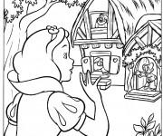 Coloriage Blanche Neige et la maison des nains