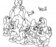 Coloriage et dessins gratuit Blanche Neige et les 7 nains à imprimer