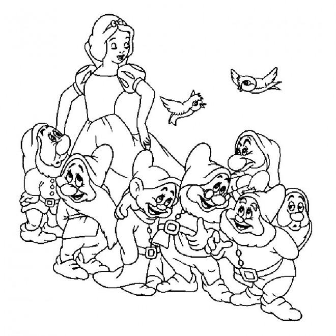 Coloriage Blanche Neige Et Les 7 Nains Dessin Gratuit à Imprimer