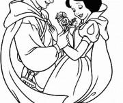 Coloriage Blanche Neige et son fameux prince