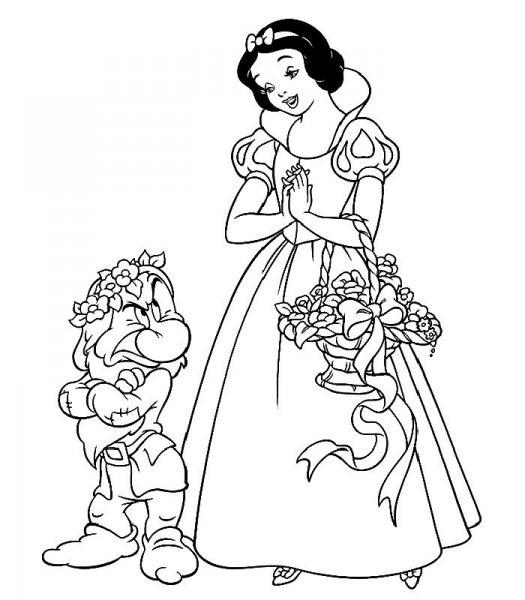 Coloriage Adulte Blanche Neige.Coloriage Grincheux Et Blanche Neige Dessin Gratuit A Imprimer