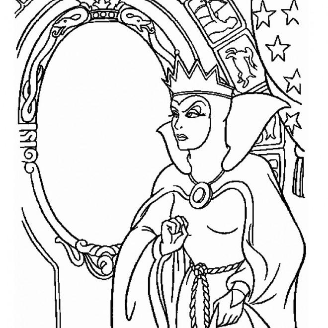 Coloriage la reine m chante blanche neige dessin gratuit for Miroir magique blanche neige