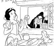 Coloriage La sorcière et la pomme empoisonnée