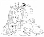 Coloriage et dessins gratuit Le prince et la princesse blanche neige à imprimer