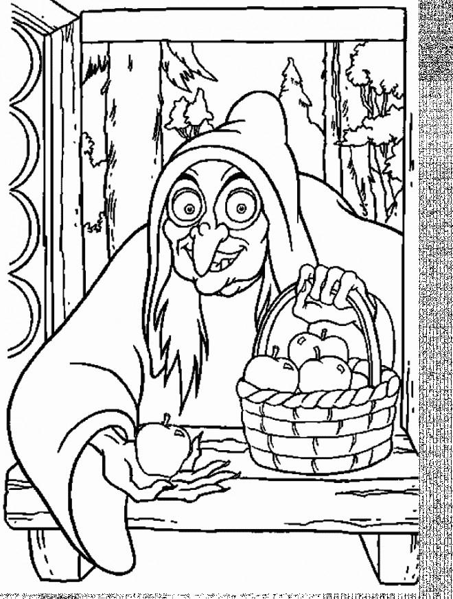 Coloriage et dessins gratuits Les pommes empoisonnées de la sorcière à imprimer