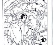 Coloriage Neige découvre la maison des nains