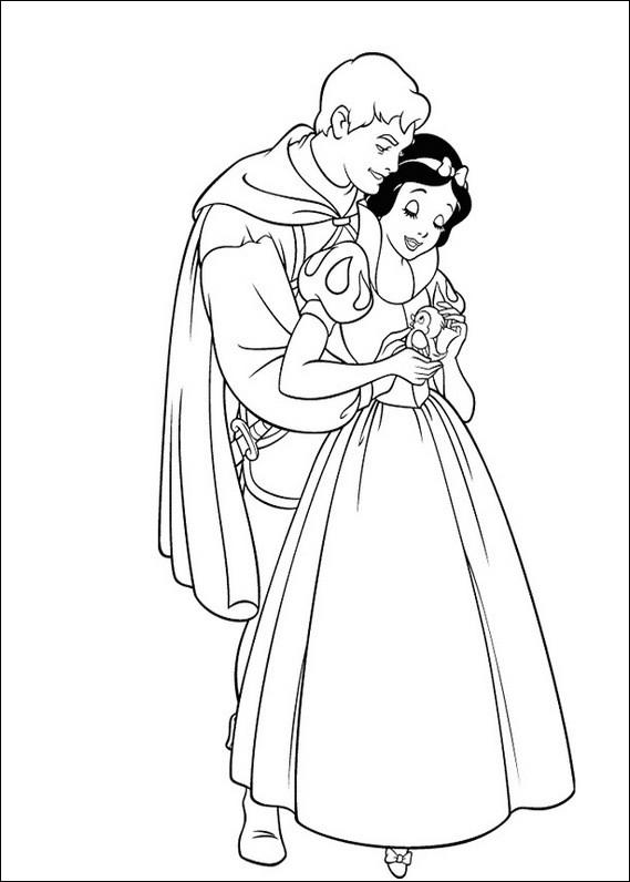Coloriage et dessins gratuits Prince charmant câline blanche neige à imprimer