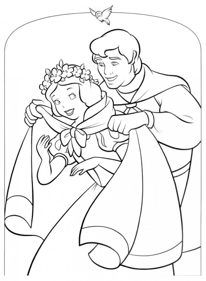 Coloriage et dessins gratuits Prince couvre blanche neige à imprimer