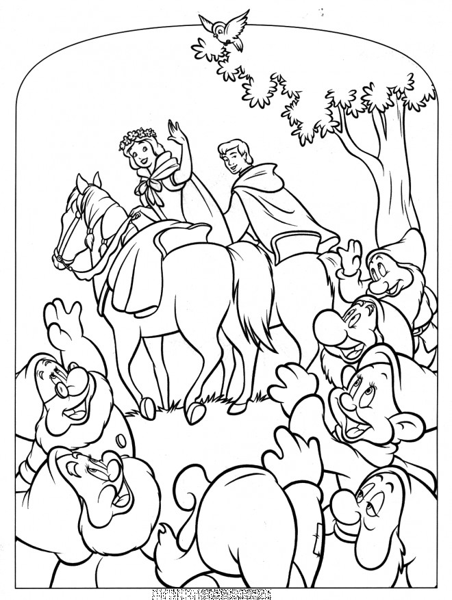 Coloriage et dessins gratuits Princesse Blanche neige avec son charmant prince à imprimer