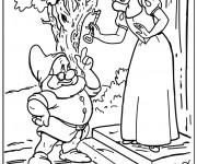 Coloriage Prof parle avec Blanche neige