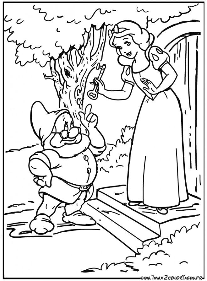 Coloriage Prof parle avec Blanche neige dessin gratuit à imprimer