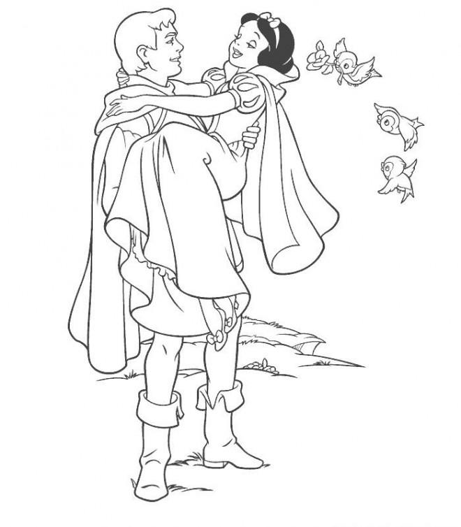 Coloriage et dessins gratuits Snow white et son prince 2 à imprimer