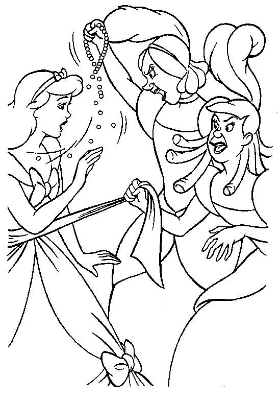 Coloriage et dessins gratuits Anastasie et Javotte querellent avec Cendrillon à imprimer