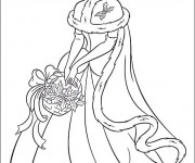 Coloriage Cendrillon ceuille des fruits