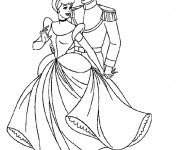 Coloriage Cendrillon danse avec le prince Henri