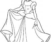Coloriage et dessins gratuit Cendrillon en robe de soirée à imprimer