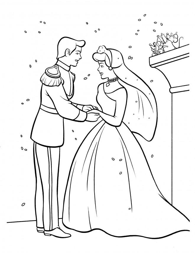 Coloriage et dessins gratuits Cendrillon se marie à imprimer