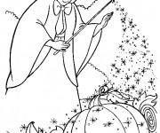 Coloriage et dessins gratuit La fée charmente la citrouille à imprimer
