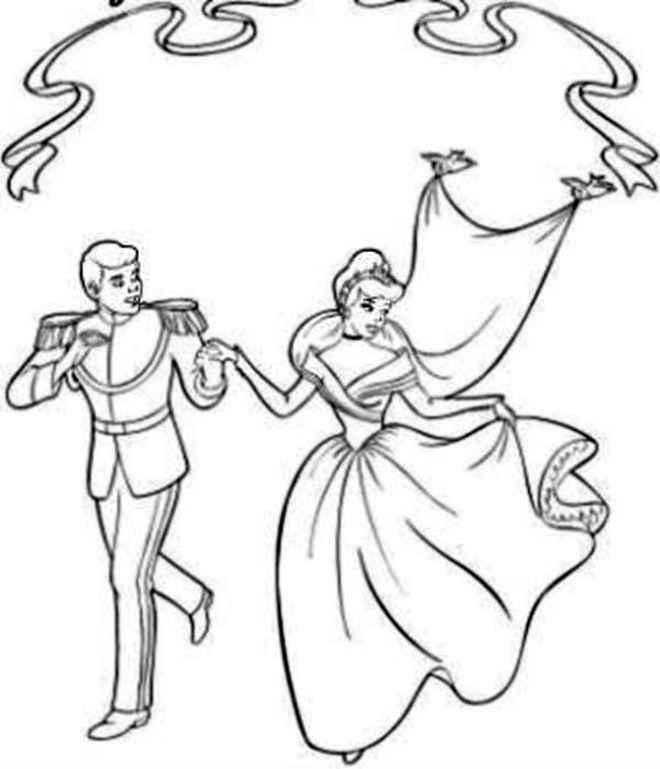 Coloriage et dessins gratuits La mariage de Cendrillon avec Prince Henri à imprimer